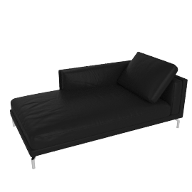 Como Chaise in Leather, Right, Black