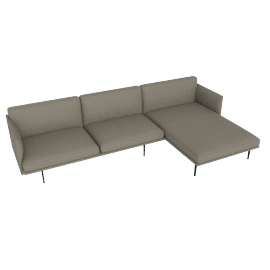 Outline Sectional with Right Facing Chaise, Shadow Leather