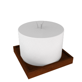 Stoneglow Natural Wax Pillar Candle and Stand