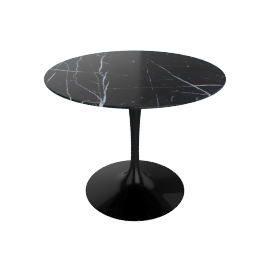 Saarinen Round Dining Table 35'', Coated Marble 1 - Black.Nero