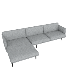 Outline Sectional with Left Facing Chaise, Maharam Mode - Surf