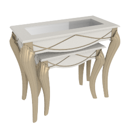 Sicilia Nest of Tables, Pearl White/Champagne