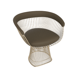 Platner Armchair, Gold frame and Volo Leather - Olive