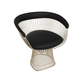 Platner Armchair, Gold frame and Volo Leather - Black