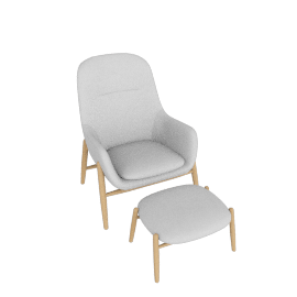 Nora Lounge Chair and Ottoman, Meld - Grate with Oak
