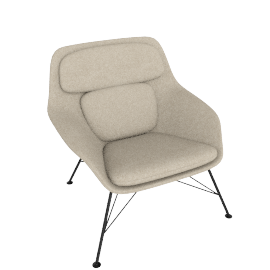 Striad Chair, Low Back with Wire base, Tonus Oatmeal/White Shell with Black base