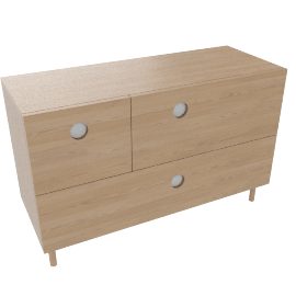 Spot 3 Drawer Wide Chest, Ash