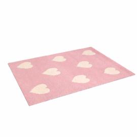 Heart Wool Rug, Pink