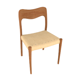 Moller Side Chair 71, Woven Seat