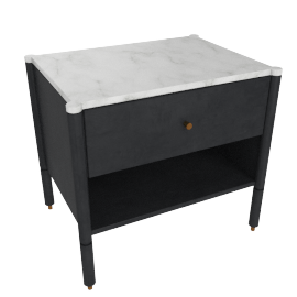 Morrison Bedside Table, Ebonized Oak with Carrara