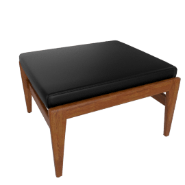 Jens Ottoman, Walnut, Elmosoft Leather - Black