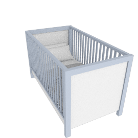 Olivia Cot with Drawer, White/Blue