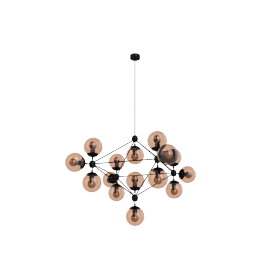 Modo Chandelier - 4 Sided - 15 Globe - Black