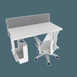 Ergonomic Starter Bundle, White Frame, Heathered Grey Screen