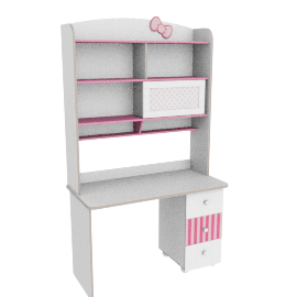 Ribbon Study Desk With Hutch