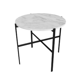 Outline Side Table, Black Base with Carrara Top