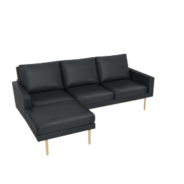 Raleigh Sectional Chaise, Frame -Oak, Vienna Leather -Ebony