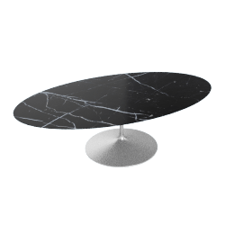 Saarinen Oval Dining Table 96'', Coated Marble 1 - Platinum.Nero
