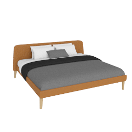 Parallel King Bed in Leather, Oak