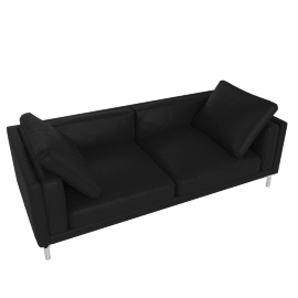"Como 92"" Sofa in Leather, Black"