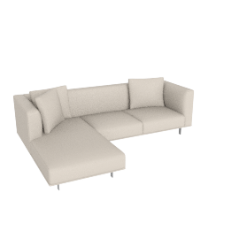 Bilsby Sectional with Left Chaise, Kalahari Leather Gesso