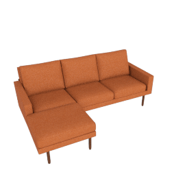 Raleigh Sectional with Left Chaise, Walnut, Ducale Wool Persimmon
