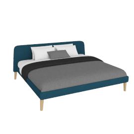 Parallel King Bed in Fabric, Oak