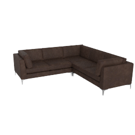 Albert Corner Sectional in Sierra Leather - Chocolate