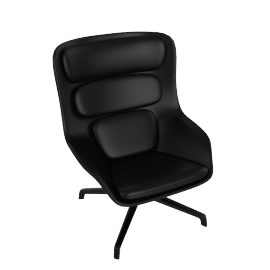 Striad Chair, High Back with 4-Star base, MCL Leather Black, 4-Star, Black Base