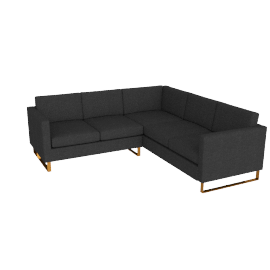 Goodland Small Sectional Bronze Legs, Basket Weave Anthracite