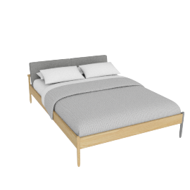 Raleigh Queen Bed, Ducale Wool Light Grey Oak Frame