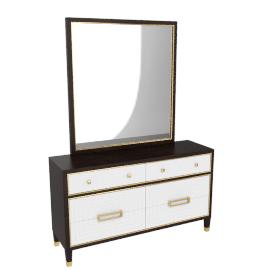 Adelina Dresser W/ Mirror-HG D.Cherry/Bge/Pearl Grey/Gold