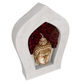 Buddha Mask in Flower House - 32.5x6.5x32.5 cms