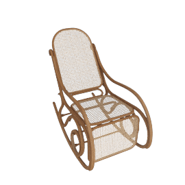 Rocking Chair with Footrest from Thonet, Natural