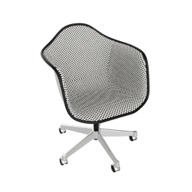 Eames Upholstered Task Chair, White with Checker Black/White