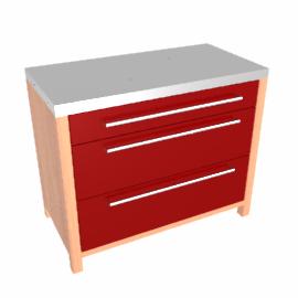 2 Drawer Hob Base Freestanding Kitchen Unit, Burgundy