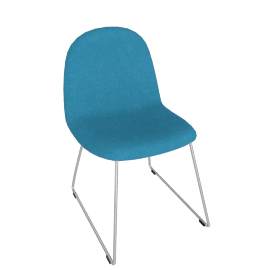 Gubi Chair with Chrome Base - Turquoise