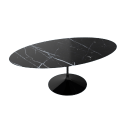 Saarinen Oval Dining Table 78'', Coated Marble 1 - Black.Nero