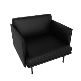 Outline Armchair, Prescott Leather - Black