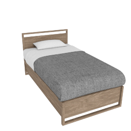 Matera Bed - Twin - Walnut