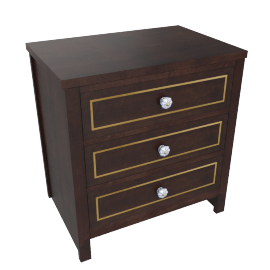 Indiana 3 Drwr Night Stand-D.Brn/Ant. Gold