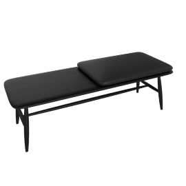 Von Bench with Leather Seat Pad, Black Ash / Black