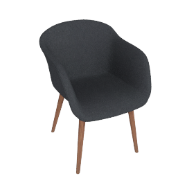 Fiber Chair, Fabric -Charcoal, Leg -Walnut