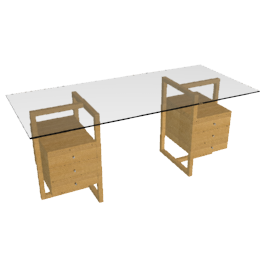Staten Large Glass Desk with Oak Trestles and 2 Drawer Packs