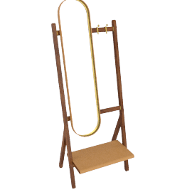 Ren - Standing mirror with Hangers, Cammello