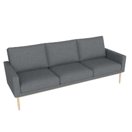 Raleigh Sofa , Frame -Oak, Fabric -Boucle: Granite