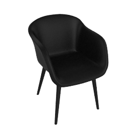 Fiber Chair, Leather -Black, Leg -Black
