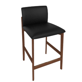 Contour Counter Stool, Kalahari Leather Black with Walnut Leg