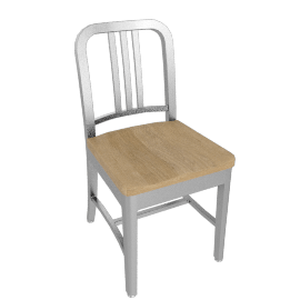 1006 Navy Side Chair w/ Wood Seat