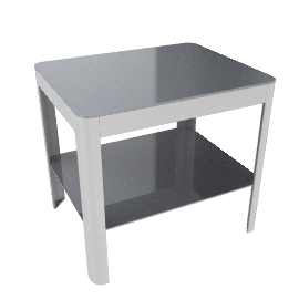 Min Bedside Table with Square Base - Aluminum